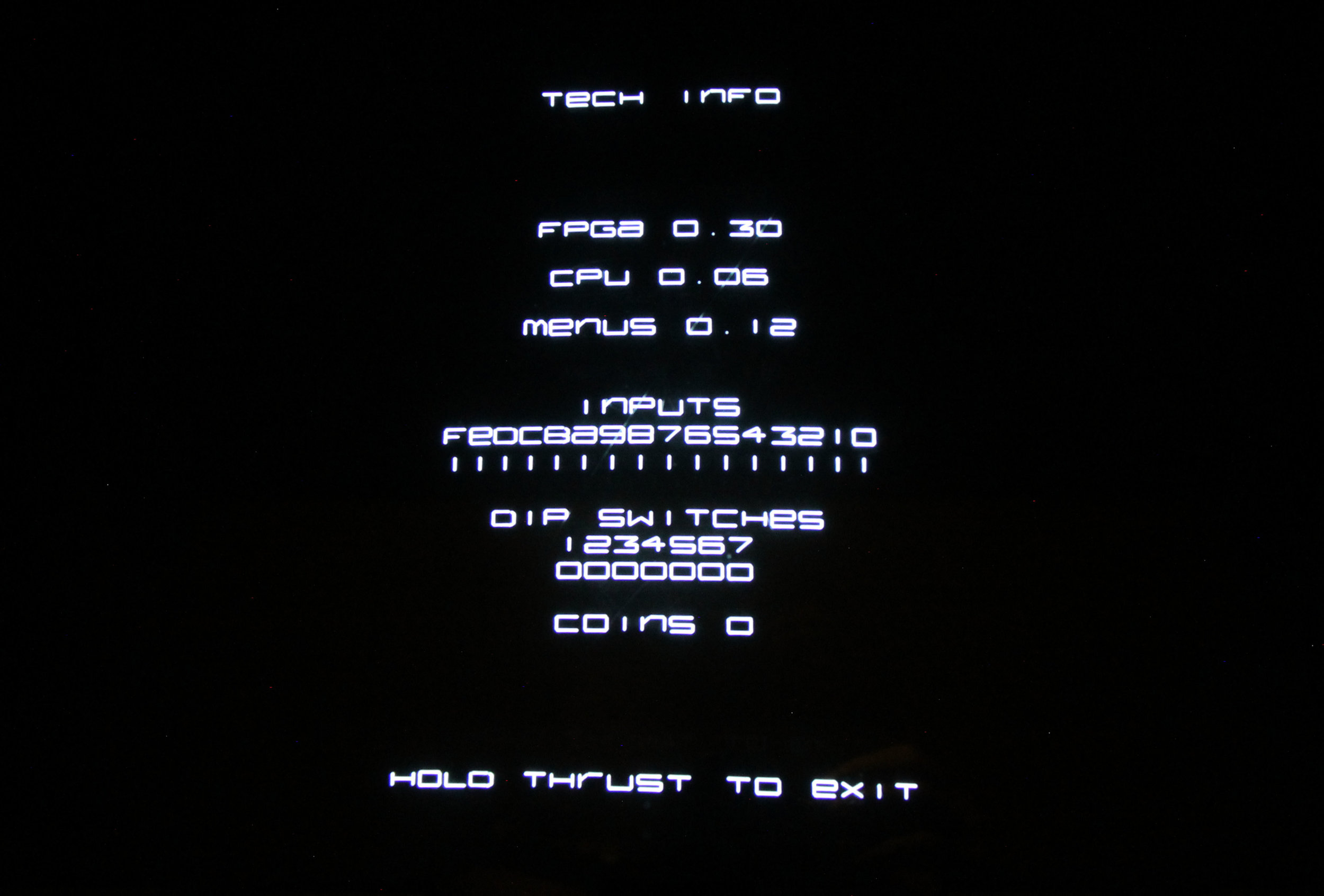 Picture of the Tech Info screen, showing versioning as well as input status for testing controls
