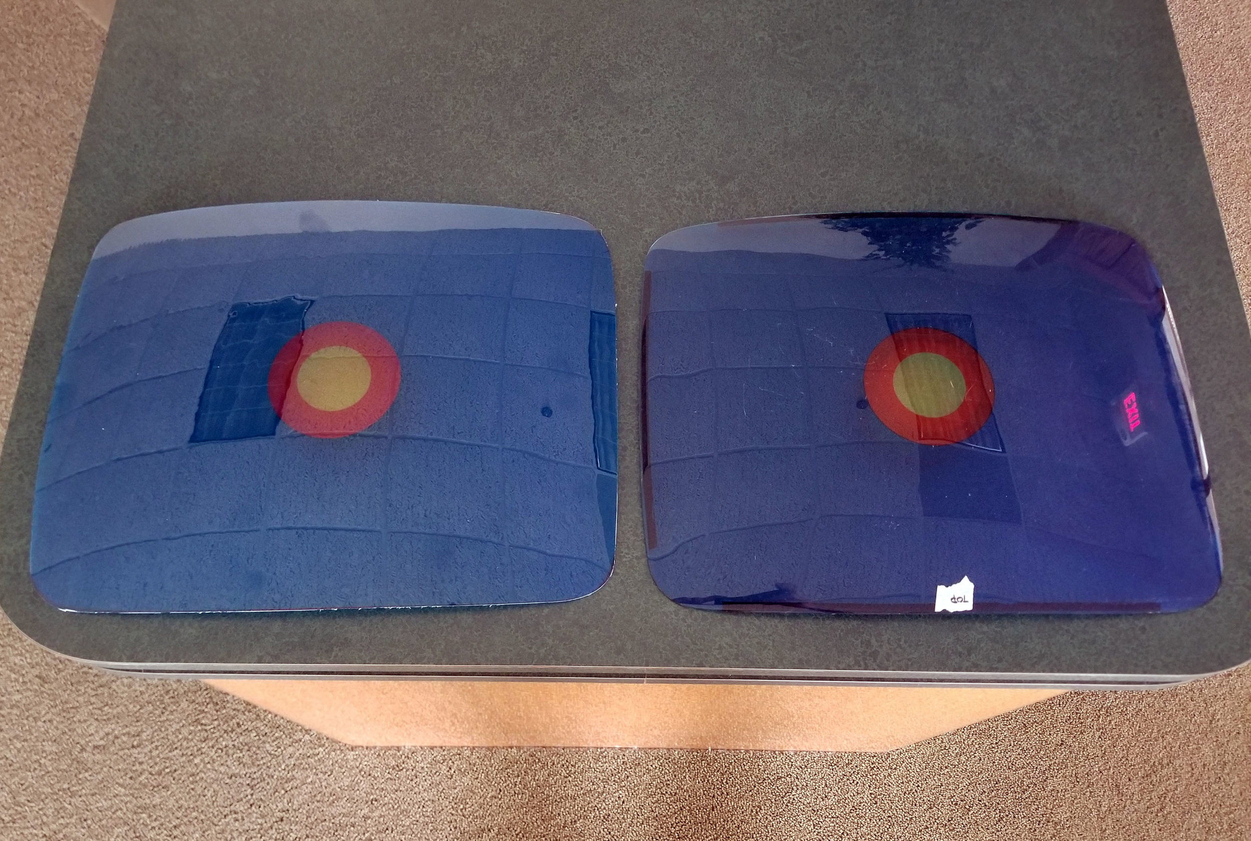 A sample reproduction overlay is on the left, original is on the right. This sample was digitally printed, while the final version will be colored matched and use high quality automotive inks. Also, the edges here were rough cut, whereas the final version will be routed and smoothed.