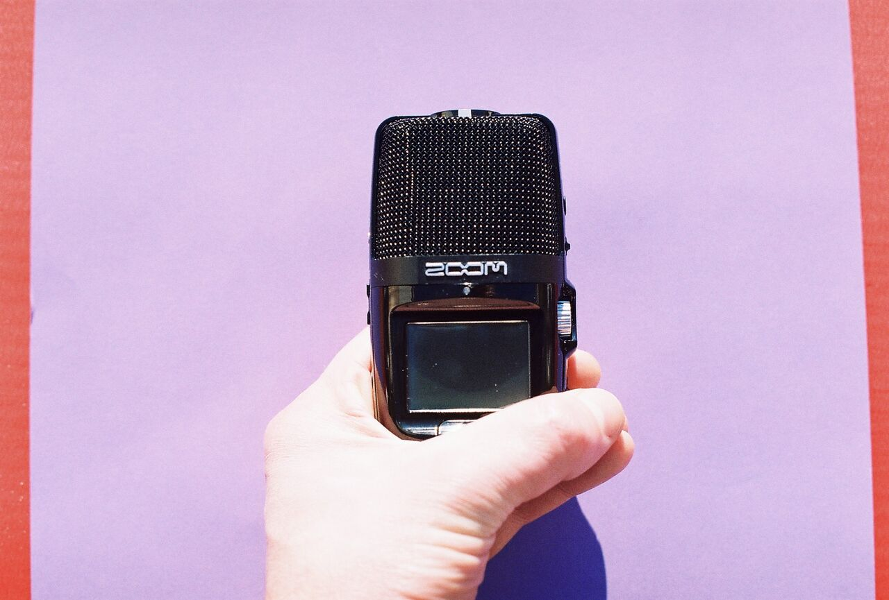 We use a ZOOM microphone to capture sounds made with voices, percussion instruments and made or found objects.