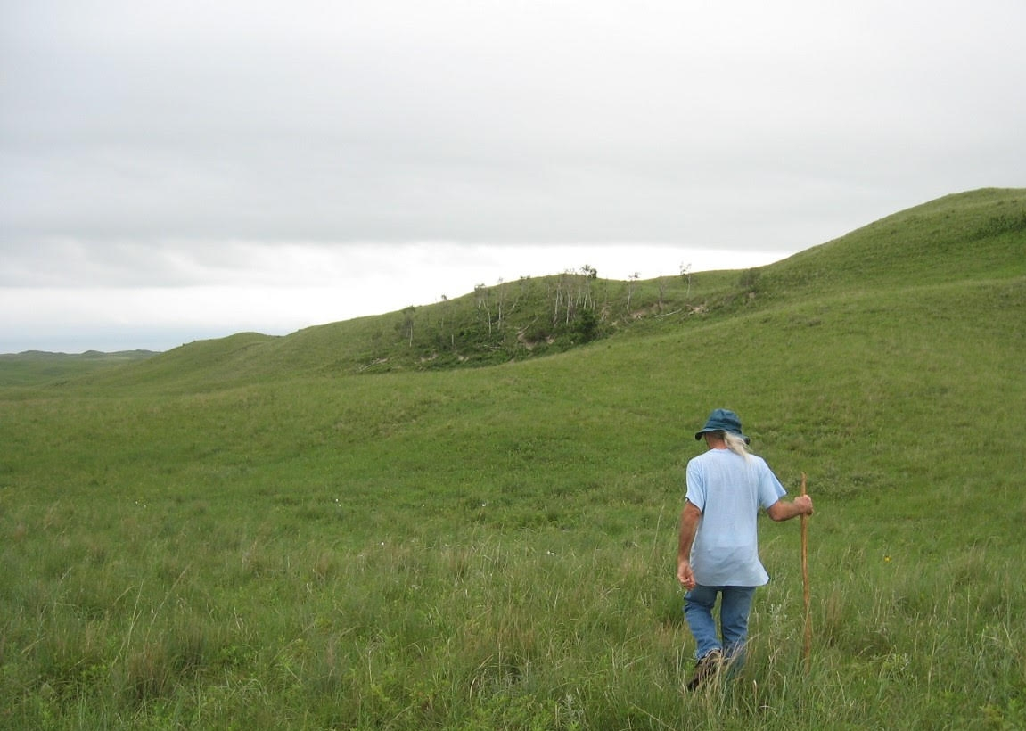 """Buffalo Bruce"" McIntosh, C. Barron McIntosh's son, leading the way to the Halsey Aspen Grove north of the Dismal River"