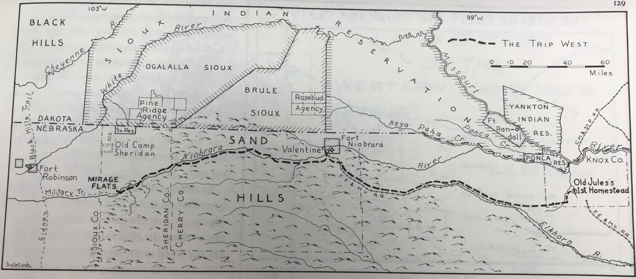 C. B. McIntosh's map of Old Jules Sandoz's journey from his Verdigre homestead to Mirage Flats