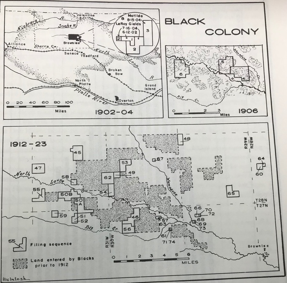 C. B. McIntosh's land patent map of the Black Colony near Brownlee