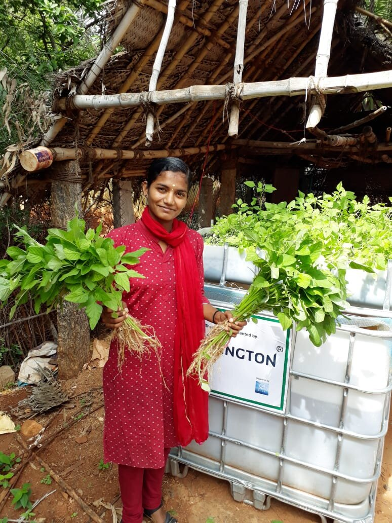 We are piloting a sustainable and organic Aquaponic farming solution with under privileged families in India. - Aquaponics is a method for cultivating plants and farming fish in a closed environment, where the plants utilize the nutrient rich water generated by the fish. Each aquaponic system can annually produce more than 200kg of vegetables, and more than 50kg of fish, with very low water consumption.An aquaponic system will aid families in becoming self-sustained with organic and healthy food.Bija has installed 8 aquaponic systems for underprivileged families in Kerala, India, to test and verify the ease of use and potential output. As soon the pilot is over, we will, with assistance from our partner The Karma House, install more systems. Installing aquaponic systems for underprivileged families in India fits perfectly with Bija's Mission: To create lasting positive effects with sustainable projects in India that have social, economic and environmental benefitsPlease help Bija install more aquaponic systems to underprivileged families in India. Donate now!