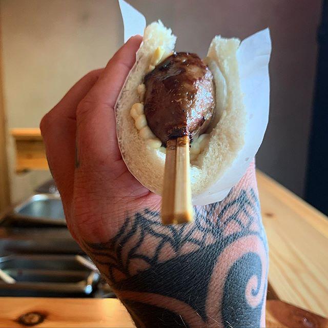 BBQ beef meatball, pickled onions, karashi mustard, tonkatsu sauce wrapped up in soft white bread.... #sho #kushiyaki #sausage #nofrills #bringgoodchat