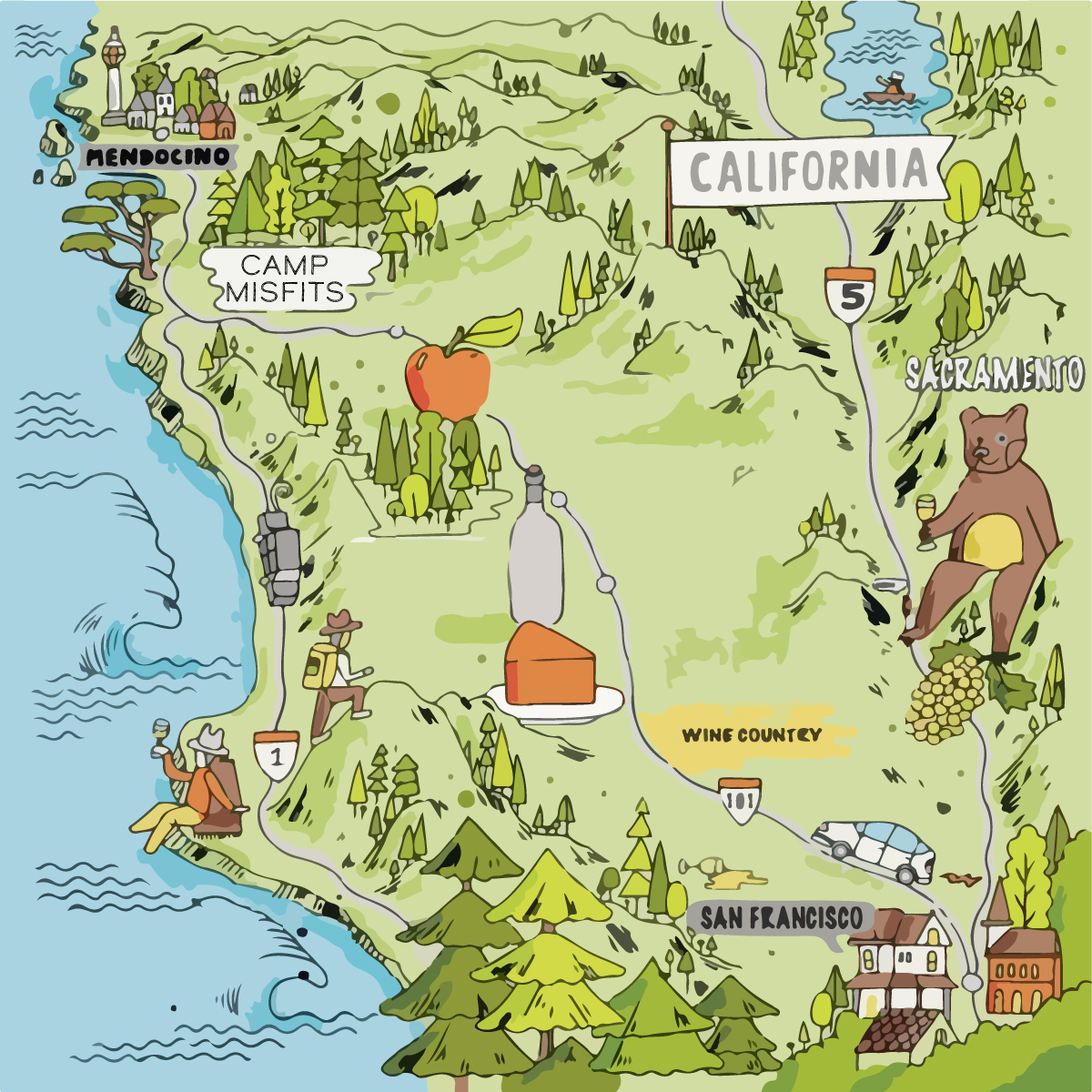 So glad to be with you on the map! - Camp Misfits is in Mendocino County in Northern California. We're taking over the beautiful property of Camp Navarro. The nearest local airport is STS in Santa Rosa (1.5 hrs) and the nearest international airports are SFO in San Francisco (2.5 hrs) and SMF in Sacramento (3 hrs). Road trip up, down, or sideways! This is Cali so don't get lost on any adventures (until you get to CAMP)!Camp Misfits901 Masonite Industrial RdNavarro, CA 95463
