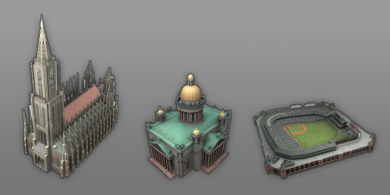3D Landmarks - I was hired to create 'Landmarks' from around the world which was to be used for a mobile map app.
