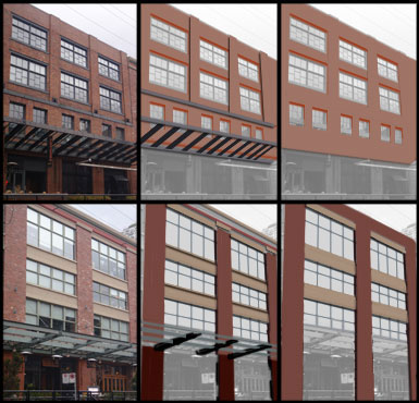 - Here is another example. With this image, we have two similar buildings. The left image is of course the reference, the middle is a grey block of what the overall areas look like, and to the right is what it would look like without these aesthetic touches to break up the consistency of the wall.As you look at these images, you can easily see how a simple trim on the top or middle can add a much better feel to the building, also bevels on trim and adding awnings help as well. These break up the repetitive (Lego block) feel of the building.