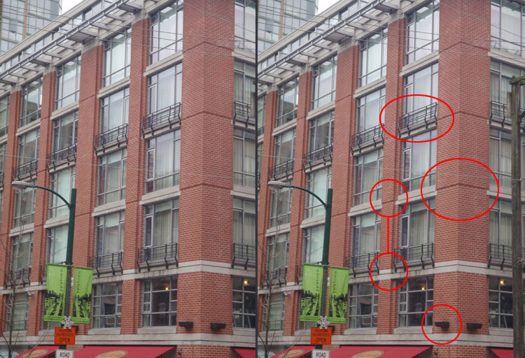 - If we go back to the first building we looked at and take a closer look, we see these attributes there as well.Metal railings, bevels between floors of the verticle bricks, exterior lights, and those two circles connected by a red line shows that not every floor needs to be the exact same. On one transition between floors compared to the next one up, you notice that there is a border on the first, but not on the second. Don't be afraid to experiment.