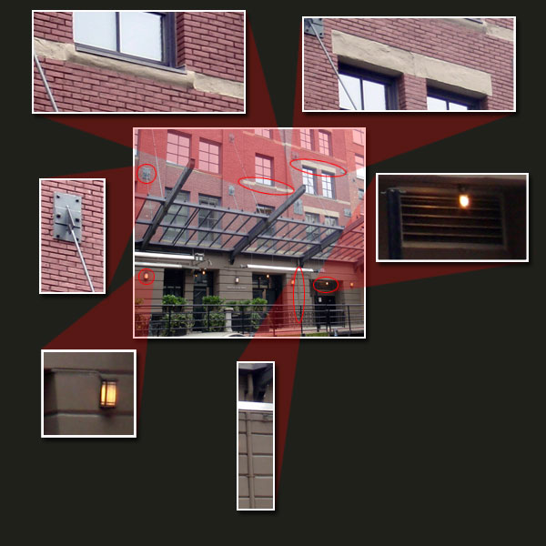 - When you look closer at this building, you notice finer details.Vertical pipes on the bottom level, support metal braces for awnings, wall lights, grates, and different scales for window tops and window base supports. All of these things help to popular the scene. Also notice the wall texture on the bottom floor is different from the upper floors, and this is separated by the awning. If the awning was not there, put in a dark trim to separate these areas.