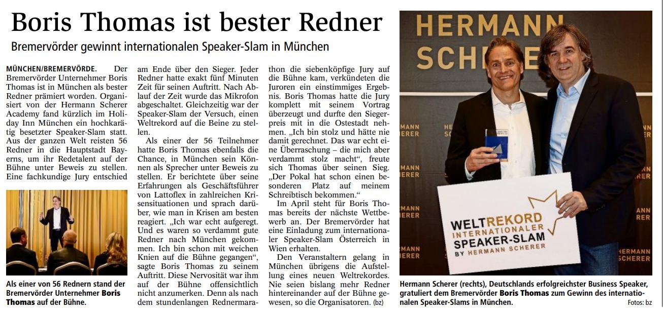 Gewinn des internationalen Speaker Slam München (Quelle Bremervörder Zeitung)