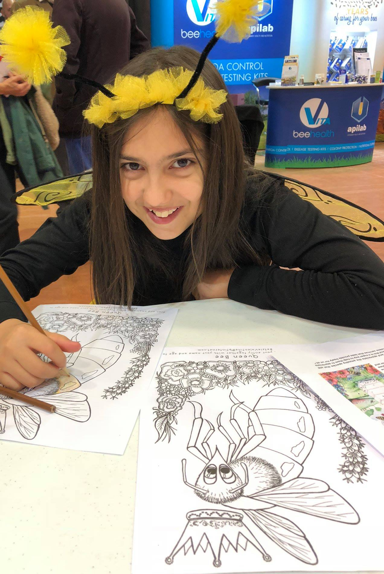 A GORGEOUS LITTLE HONEY BEE FLEW IN FOR THE COLOURING COMPETITION I SET UP TO WIN A SIGNED PRINT OF THE QUEEN BEE FROM PAGE 25 OF THE BOOK.