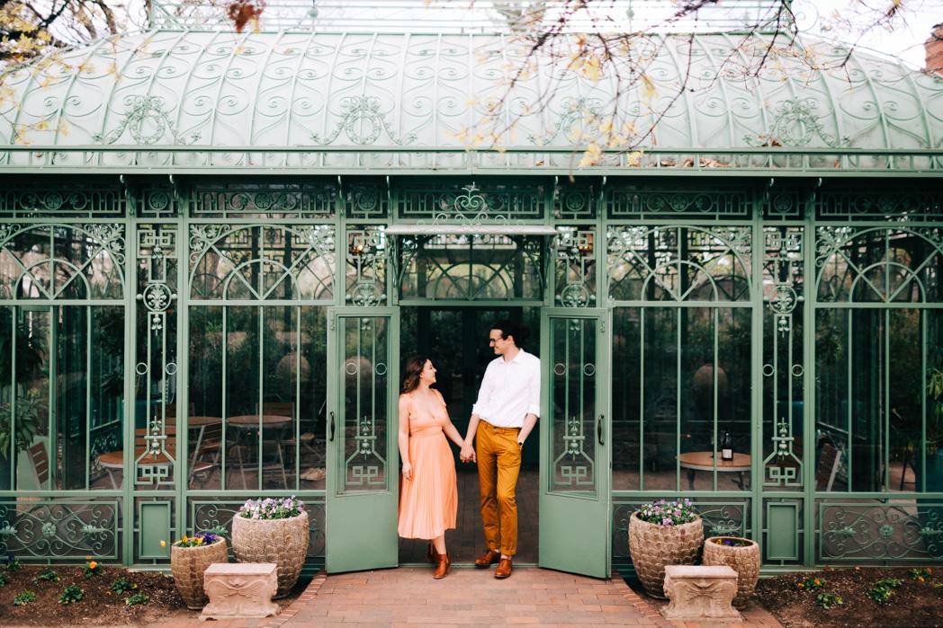 engaged couple at the denver botanic garden mat schramm photography.jpg