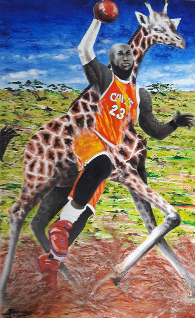 LeBron James and Giraffe © 2019 Susan Andreasen | All Rights Reserved