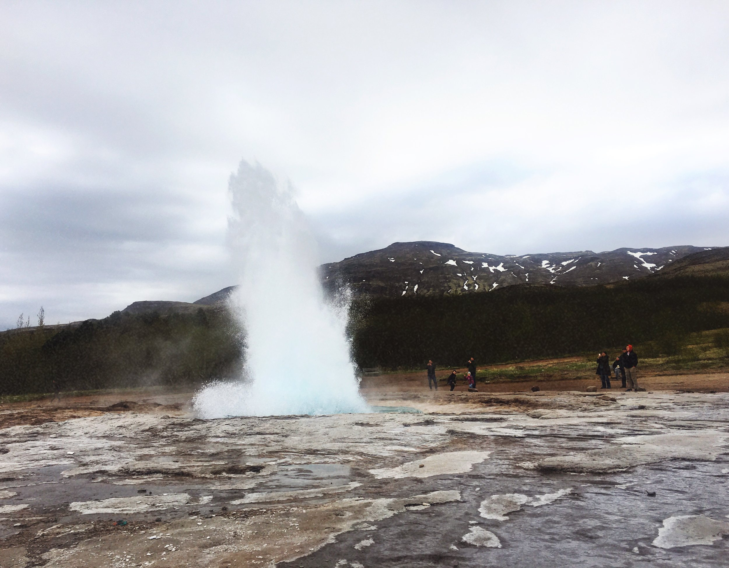 Strokkur mid-eruption.