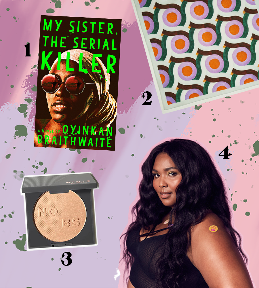 1. My Sister, The Serial Killer | 2. Klaede Kerchief | 3. PYT Highlighter | 4. Lizzo | [All images belong to the brands/creators, not to me.]