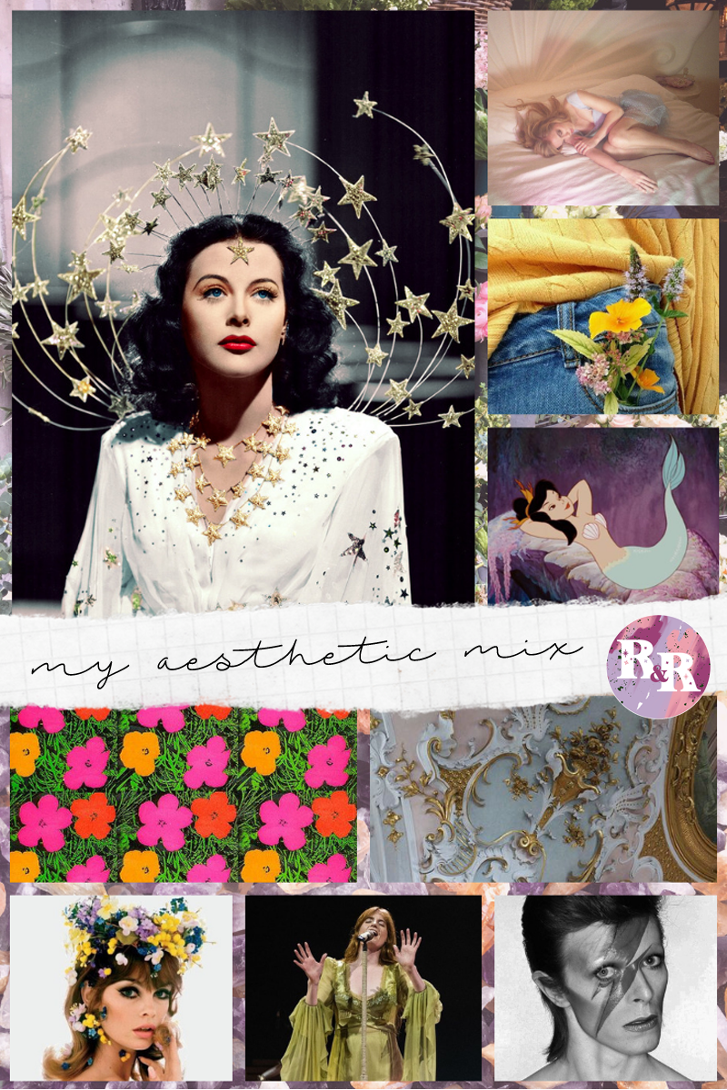 Image sources:    Colorized photo of Hedy Lamar    /    Photo from Margarita Mermaid    /    Flowers in the pocket    / Mermaid from Peter Pan / Floral painting by Andy Warhol / Baroque details by Mariä Geburt, Rottenbuch, Oberbayern, Germany [found on Flickr] / Jean Shrimpton by Bert Stern, 1967 / Florence + the Machine performing at the O2 Arena in London (unknown photog) / David Bowie