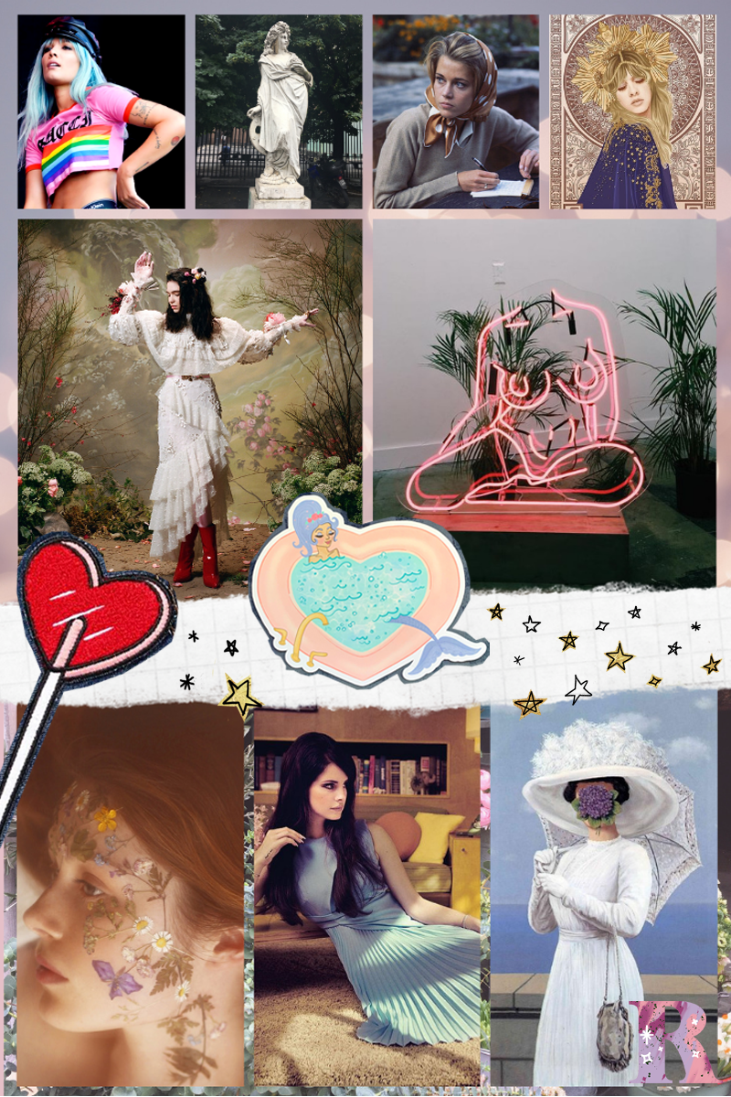 Image sources: Halsey at Glastonbury 2017 / statute photo by me, Argentina / Jane Fonda on the French Riviera, 1963 /    Stevie Nicks poster on Redbubble    /    Rodarte Fall 2018 RTW    / neon figure by Romily Alice Walden, photo by me /    Heart lollipop patch    /    Mermaid Motel sticker    /    Flowers on face    / Lana Del Rey, unknown photog / The Great War (2) by Rene Magritte