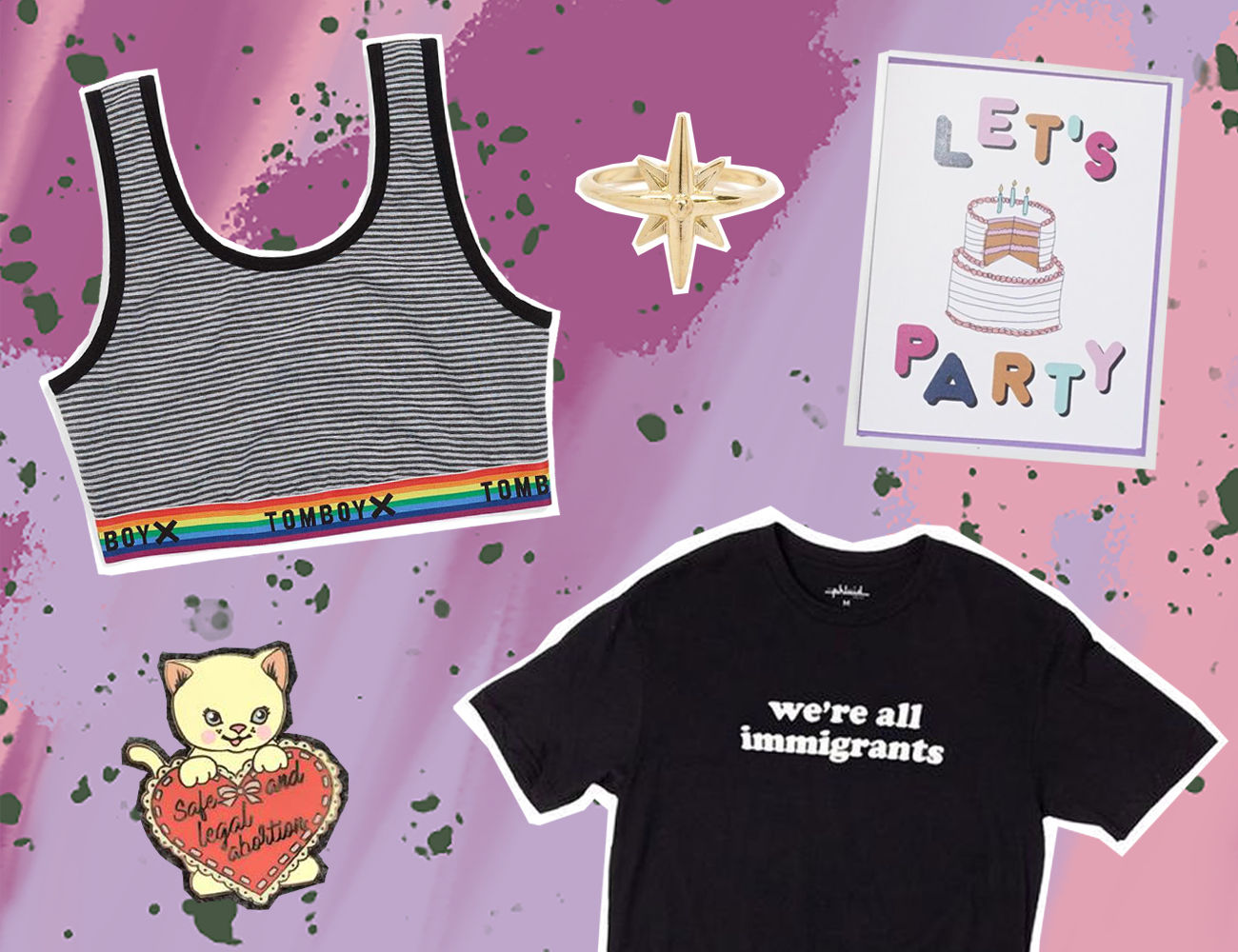 Clockwise: TomboyX    bralette   , Mooreaseal    ring   , Ash & Chess    birthday card,    The Phluid Project    tee   , Jini & Tonic    enamel pin   . All images belong to creators, not me.