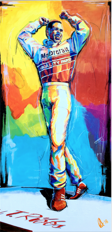 Roof Dance (Canvas) - Willy T. Ribbs signature celebration; the Roof Dance. As colorful and vibrant as the man himself.15x30″ archival gicleé on un-streched canvas. Limited to 40 editions. Signed and numbered by the artist.