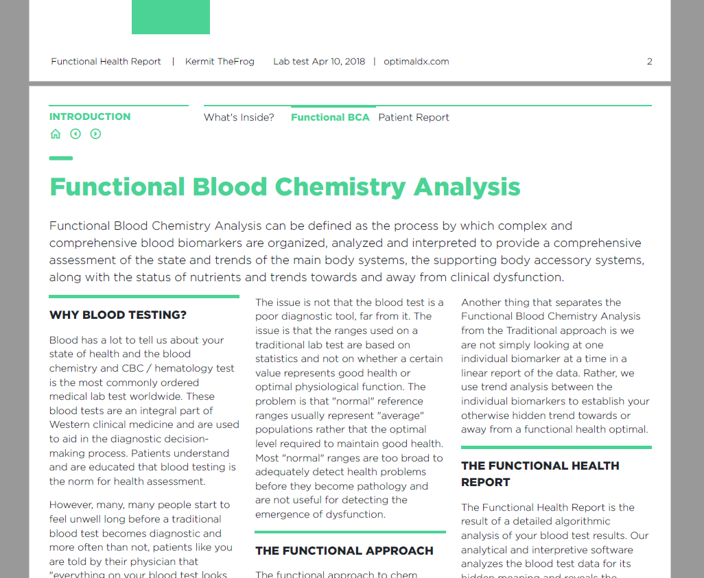 Functional Blood Chemistry Analysis - The health assessment tool of the future… available today.