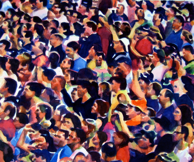 """Crowd #6 detail 3 of triptych 20""""x24""""  watercolor"""