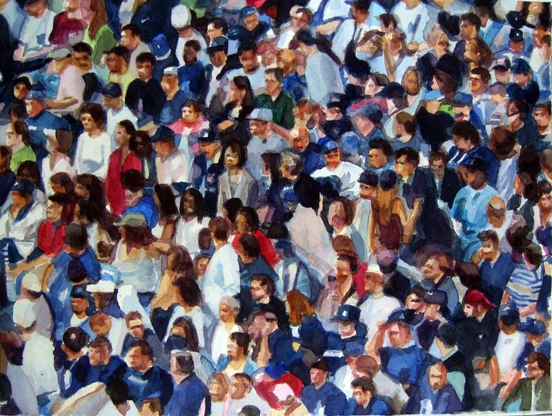 "Crowd #3 12""x16""  watercolor"
