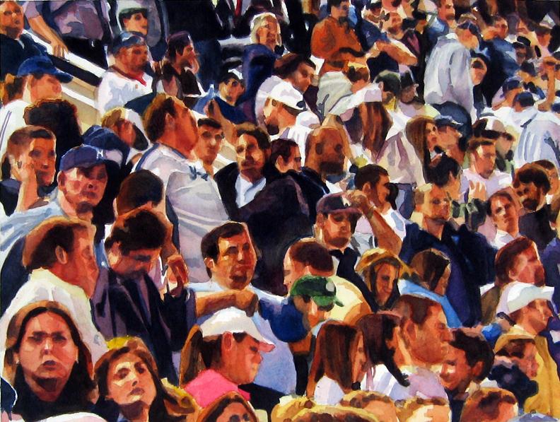"Crowd #5 16""x12""  watercolor"