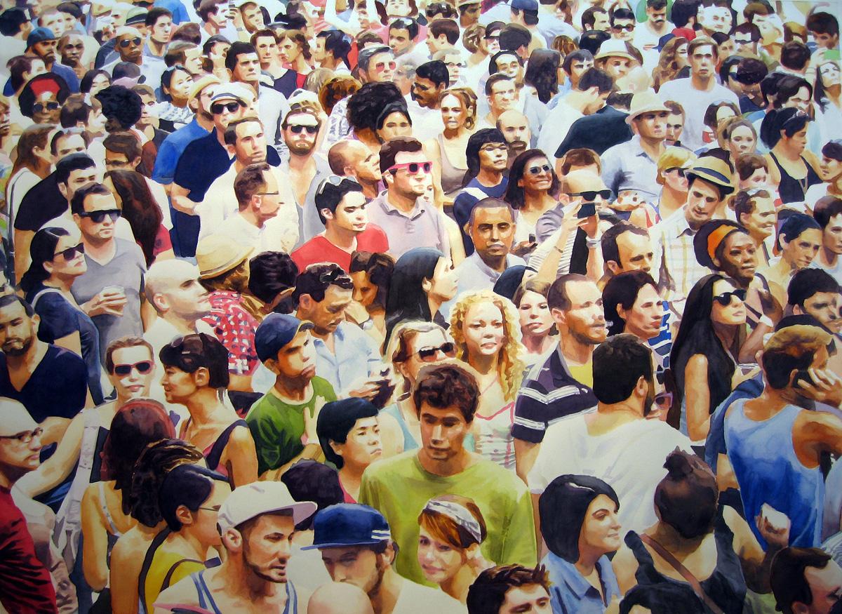 "Crowd #10  40"" X 54"" watercolor"