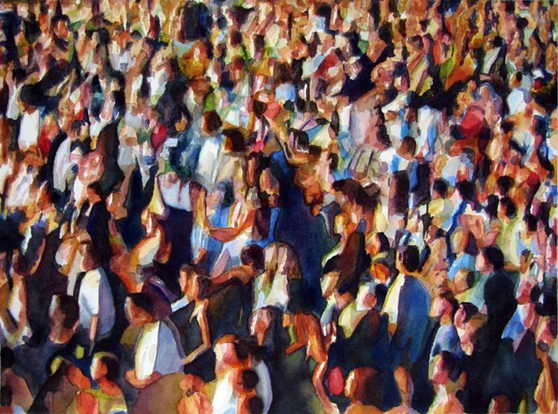 "Crowd #1 22""x30""  watercolor"