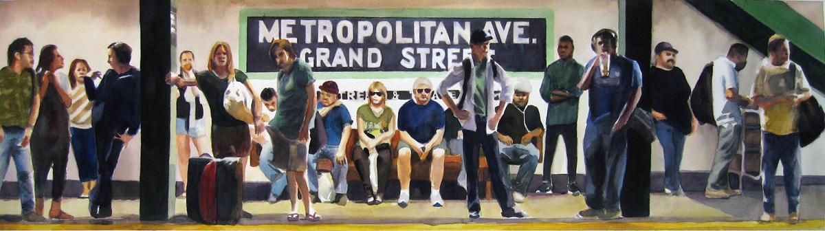 "Crowd #17 9"" x 32"" watercolor"