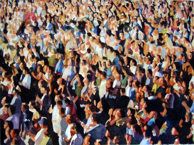 "Crowd #2 22""x30""  watercolor"