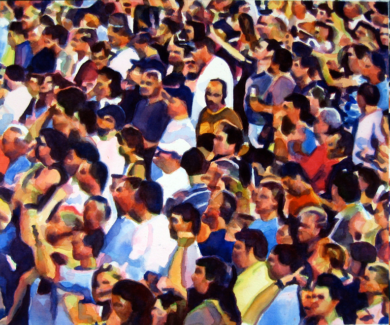 """Crowd #6 detail 2 of triptych 20""""x24""""  watercolor"""