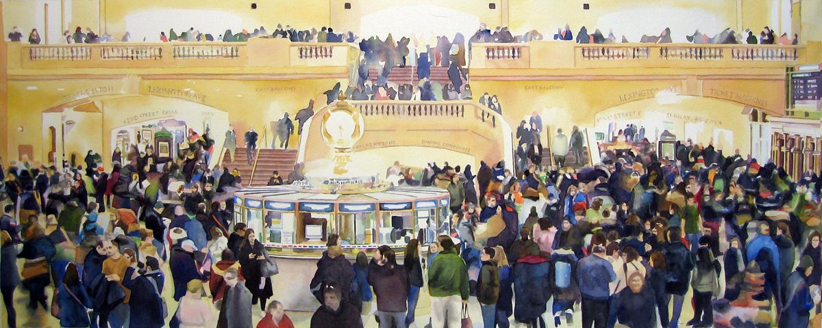 "Crowd #11 15 3/4"" X 40""  watercolor"