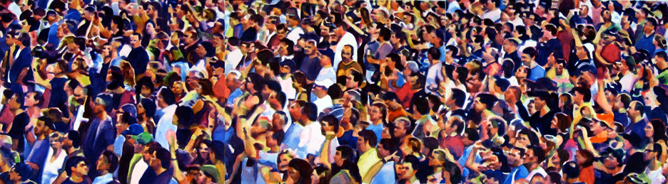 "Crowd #6 triptych 20"" X 72""  watercolor"