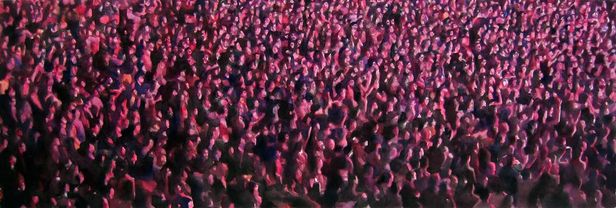 "Crowd #15 16"" x 48"" watercolor"