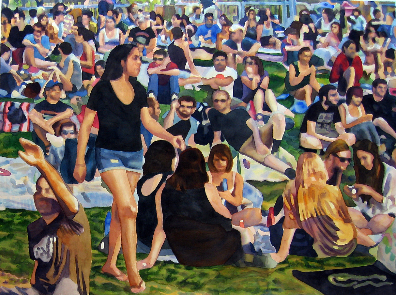 "Crowd #9  40"" X 53"" watercolor"
