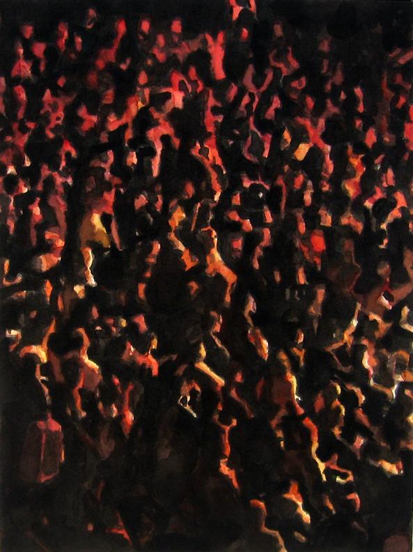 "Crowd #7 16""X12"" watercolor"