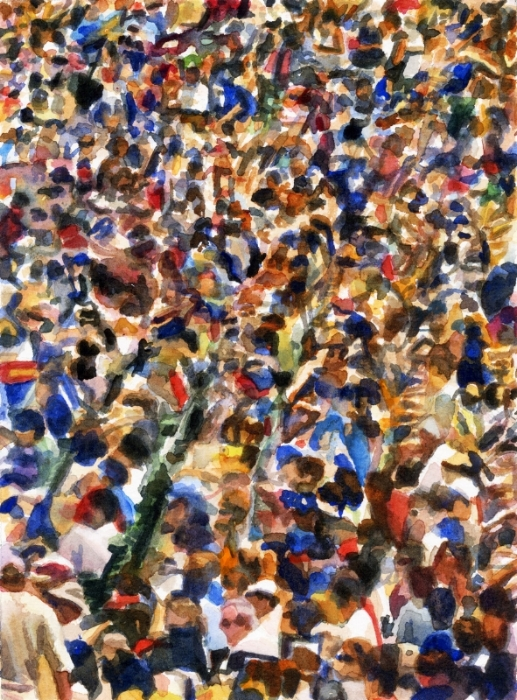 "Crowd #20  7.5"" X 10"" watercolor"