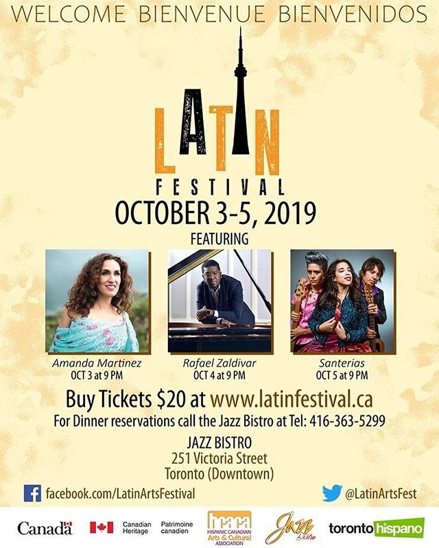 Happy week, Santerillos! Get tickets for our next performance at the @latinfestival2019 on Saturday, October 5th at the @jazzbistroto ! And check out @amandamartinezmusic and Rafael Zaldivar on October 3rd and 4th. Link in our bio!