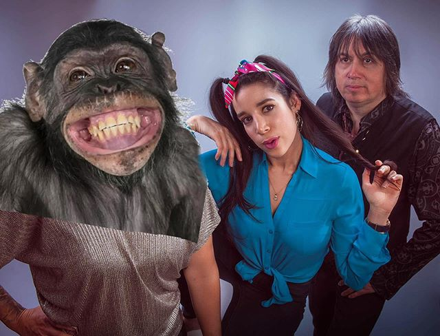 When one of your bandmates doesn't like how their face looks in the photo, but the rest of the band likes how they turned out... Hence the happy monkey comes to the rescue!🐵. Come to our show as part of the @latinfestival2019 at the @jazzbistroto this Saturday, October 5th! $20 at the door or online. Two sets of an hour from 9:00 p.m. until 11:30 p.m.💃🏻. See you there, Santerillos!. Original photo credit: @alexusquiano .