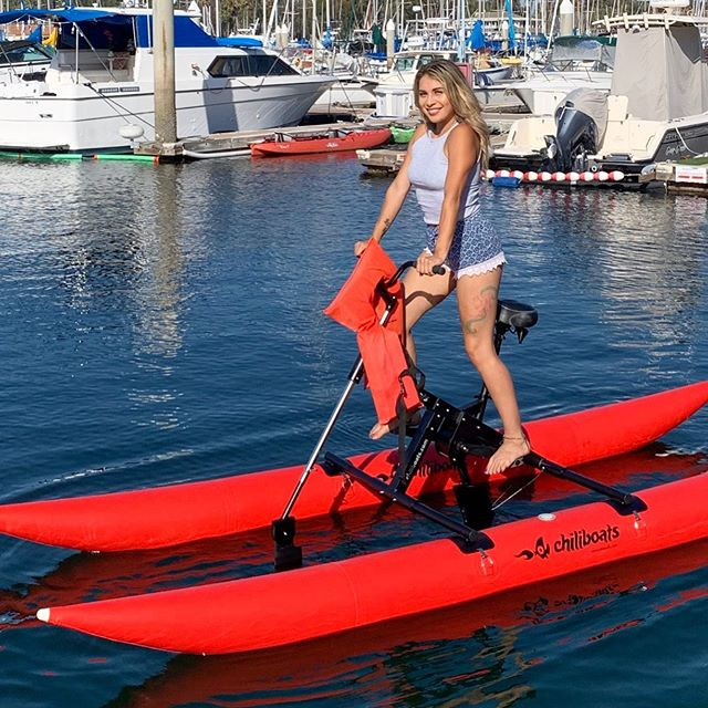 New to the fleet! 🌶Our Chiliboat is a lighter, faster waterbike geared lower for a spicier, calorie-burning ride. Come take it for a spin and feel the burn!💦