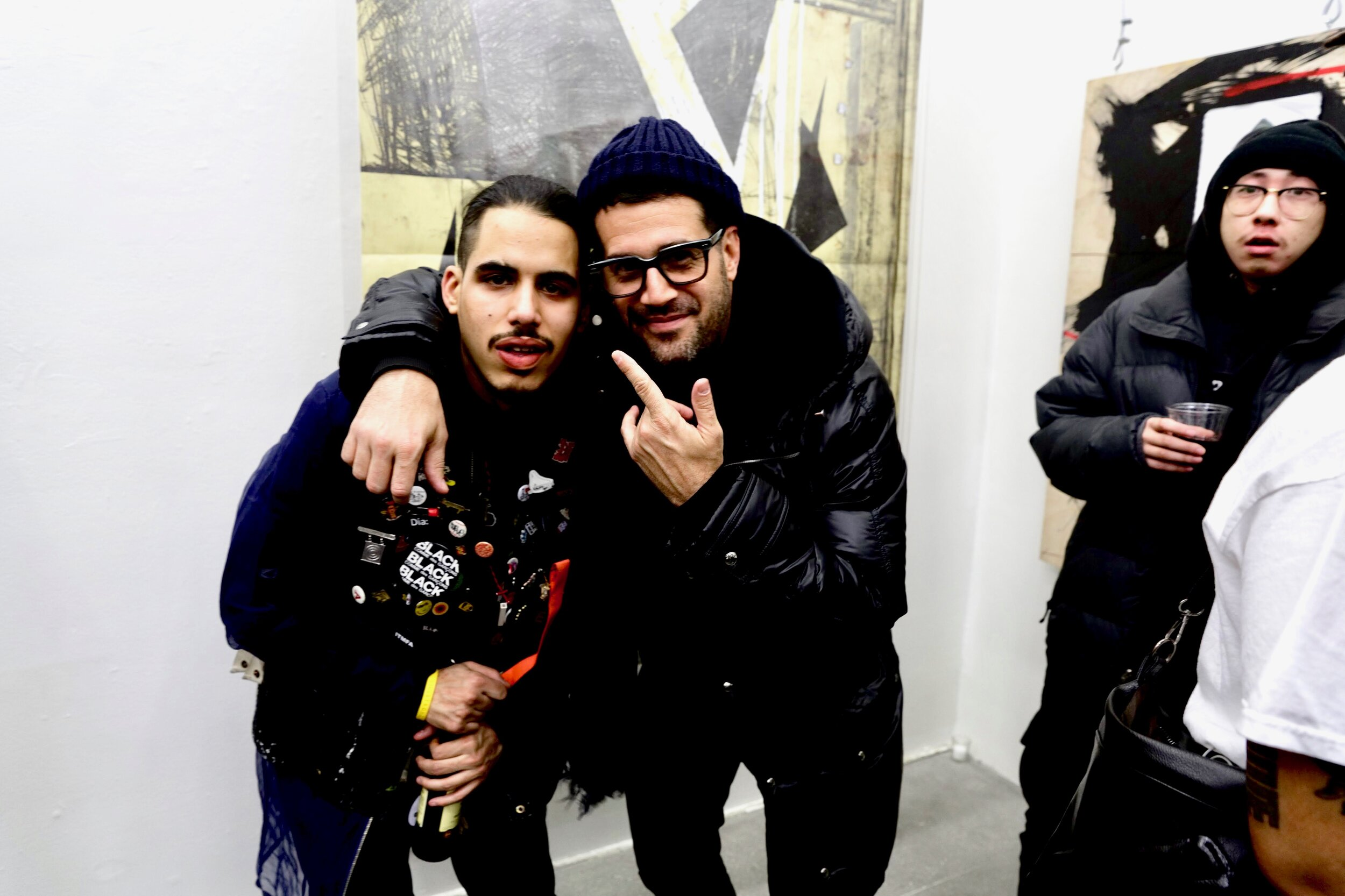 "Artist Melvin ""Grave"" Guzman with mentor Jose Parla, ABXY Gallery, January 2018"