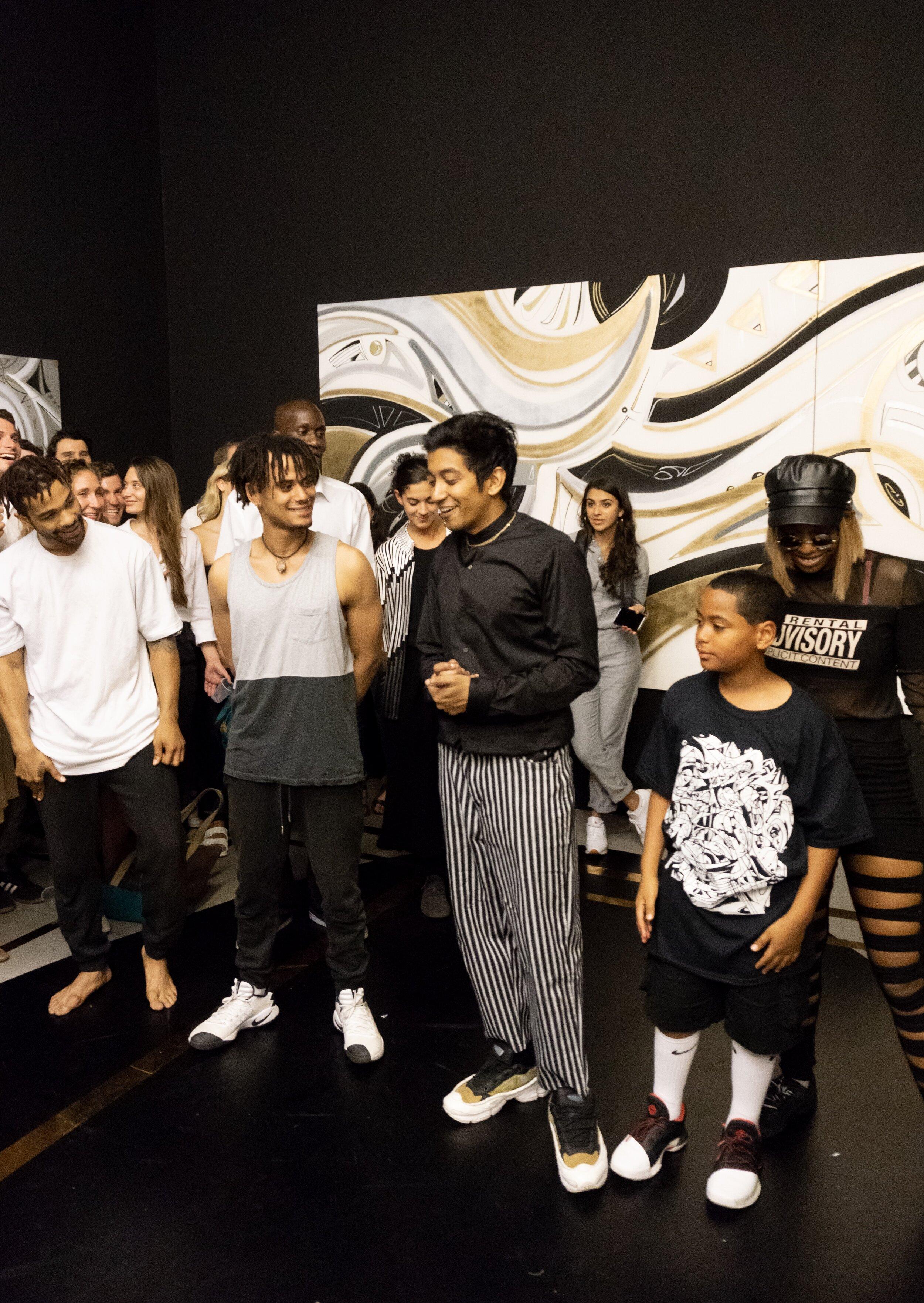 "Artist Zeehan Wazed with fellow dancers, opening night of ""Momentum,"" ABXY 2018"