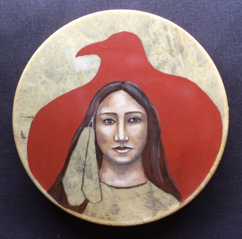 Her Raven Wings. Acrylic painting on deer hide drum by Melanie Rivers.