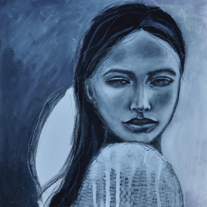 Acrylic mixed media painting by Melanie Rivers. Coast Salish.