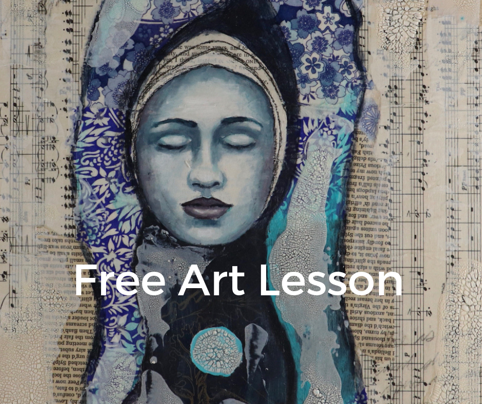 Free mixed media art lesson by Melanie Rivers