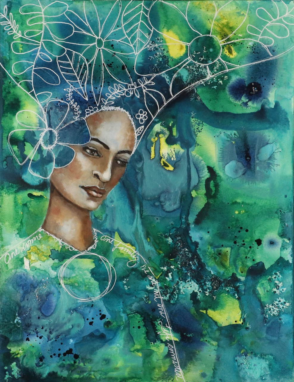 Earth Mother, a mixed media portrait by Melanie Rivers