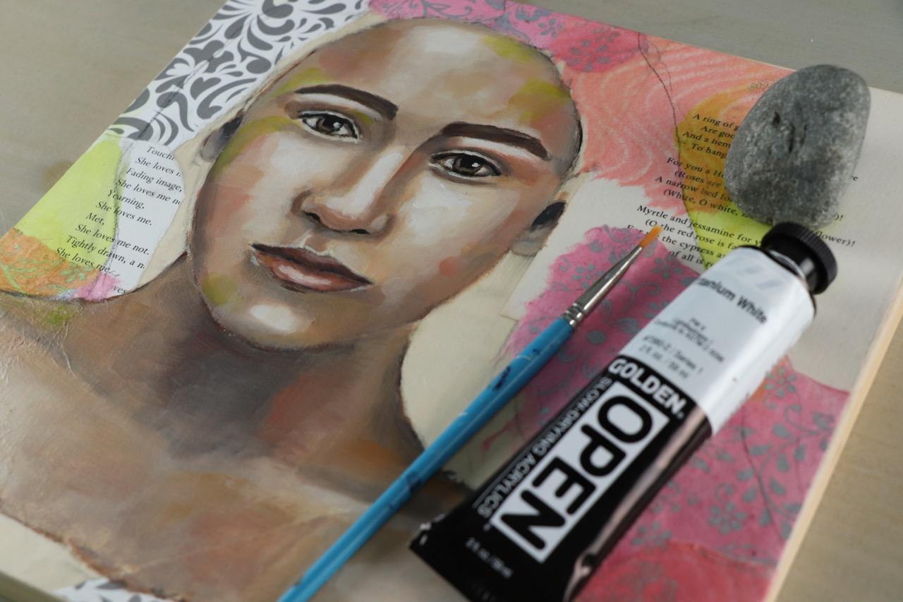 Work in Progress, mixed media portrait by Melanie Rivers