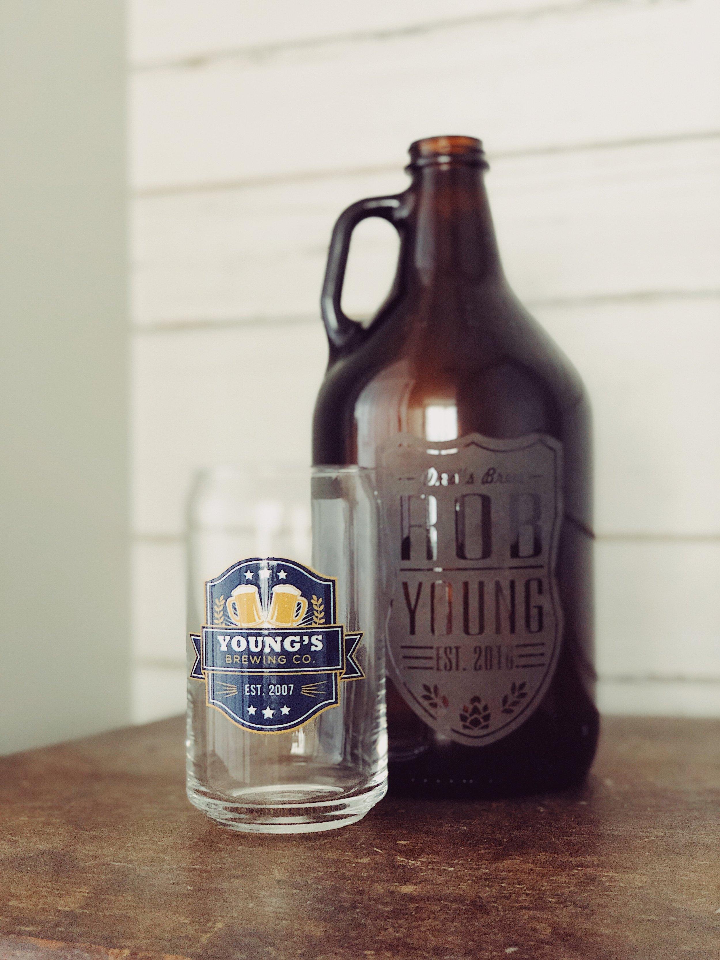 Beer Label Growler & Beer Can Glass