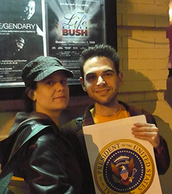 Amanda Sisk and Noah Diamond outside HERE Arts Center during the run of  Life After Bush , October 2008.